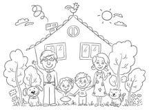 Família na casa, esboço ilustração royalty free