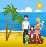A família na licença senta-se no mar das malas de viagem em terra Fotos de Stock Royalty Free