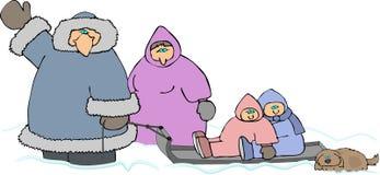 Família na neve ilustração royalty free