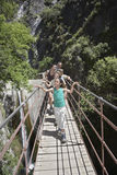 Família na ponte de cruzamento das montanhas Foto de Stock Royalty Free