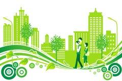 Família na vida urbana, ambiente ilustração stock