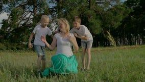 Família no dia ensolarado do verão no parque Crianças que jogam com seus pais filme