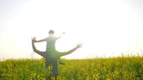A família no luminoso que levanta as mãos acima dos jogos na grama, filho senta-se em ombros gena no prado no dia ensolarado, pai vídeos de arquivo
