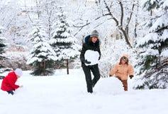 Família no parque do inverno Fotografia de Stock