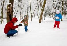 Família no parque do inverno imagem de stock royalty free