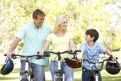 Família no passeio do ciclo no parque Imagem de Stock Royalty Free