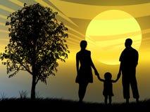Família no por do sol Imagens de Stock