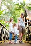Família no recurso tropical da selva imagem de stock royalty free