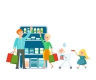 A família nova compra a loja, férias comum no bom humor ilustração do vetor