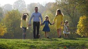 Família nova feliz que anda no parque do outono com seu cão pequeno vídeos de arquivo