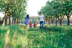 Família nova feliz que passa o tempo junto fora na natureza verde Pais que jogam com gêmeos Walkng da família de quatro pessoas imagens de stock