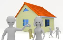 Família nova que move-se em uma casa nova Foto de Stock Royalty Free