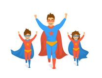 A família, o paizinho e as crianças, o menino bonito e a menina jogando super-herói, correr entusiasmado no super-herói trajam os ilustração do vetor