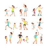 Família, pais e crianças da aptidão treinando junto As famílias ativas que fazem esportes exercitam os povos lisos do vetor isola ilustração stock