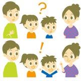 Família, pergunta e resposta Fotografia de Stock
