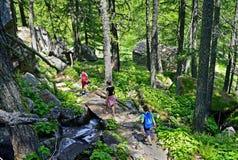 Família que anda em um trajeto na montanha Imagem de Stock Royalty Free