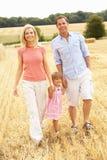 A família que anda junto com o verão colheu F imagens de stock