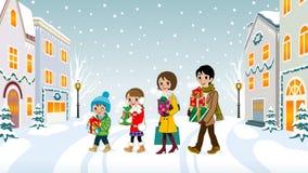 Família que anda na cidade do Natal - EPS10 ilustração royalty free