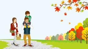 Família que anda na natureza do outono - reboque ilustração royalty free