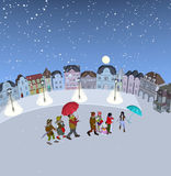 Família que anda na neve Fotografia de Stock Royalty Free