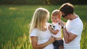 Família que anda no campo que leva o filho novo do bebê vídeos de arquivo