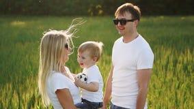 Família que anda no campo que leva o filho novo do bebê video estoque