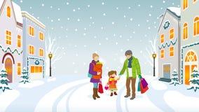 Família que anda no inverno hometown-EPS10 ilustração stock