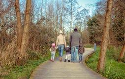 Família que anda unidas mantendo as mãos no Imagens de Stock Royalty Free