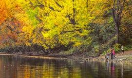 Família que aprecia a natureza do outono perto da laca Leamy, Gatineau Imagem de Stock Royalty Free