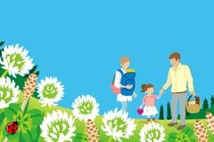 Família que aprecia o piquenique na natureza da mola - EPS10 ilustração do vetor