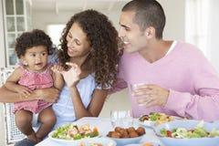 Família que aprecia a refeição junto em casa imagem de stock