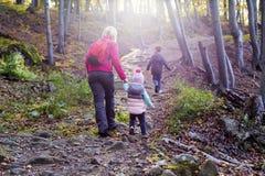 Família que caminha nas montanhas Fotografia de Stock