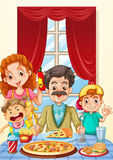 Família que come a pizza na mesa de jantar ilustração royalty free