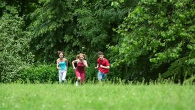 Família que corre no parque vídeos de arquivo