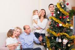 Família que decora a árvore de abeto Fotografia de Stock Royalty Free