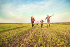 Família que funciona junto Fotos de Stock Royalty Free