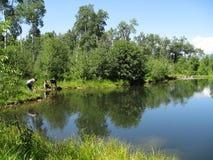 Família que investiga uma lagoa de pesca Imagem de Stock Royalty Free
