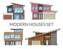 A família que moderna as casas se ajustam, bens imobiliários assina dentro o estilo liso Imagens de Stock