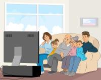 Família que presta atenção à tevê ilustração royalty free