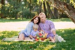 Família que realiza-se junto nas férias que têm um piquenique Foto de Stock Royalty Free