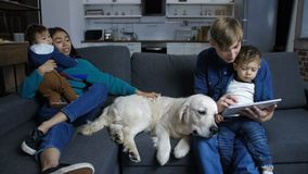 Família que senta-se no sofá com animal de estimação Labrador em casa filme