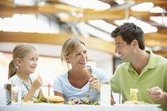 Família que tem o almoço junto na alameda imagens de stock royalty free