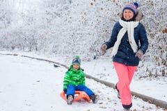 Família que tem o divertimento com o trenó no parque do inverno Imagem de Stock