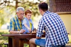 Família que tem o divertimento e que joga a xadrez foto de stock
