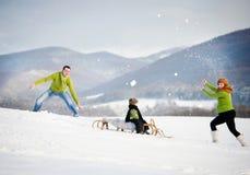 Família que tem o divertimento junto fora no inverno Imagem de Stock Royalty Free