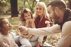 Família que tem o piquenique no parque foto de stock royalty free