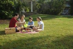 Família que tem o piquenique no parque. Imagem de Stock Royalty Free