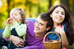 Família que tem o piquenique no parque Imagens de Stock Royalty Free