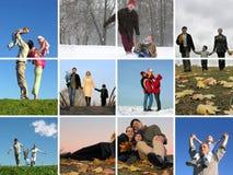 A família redonda 2 do ano Foto de Stock