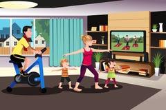 Família saudável que exercita junto ilustração royalty free
